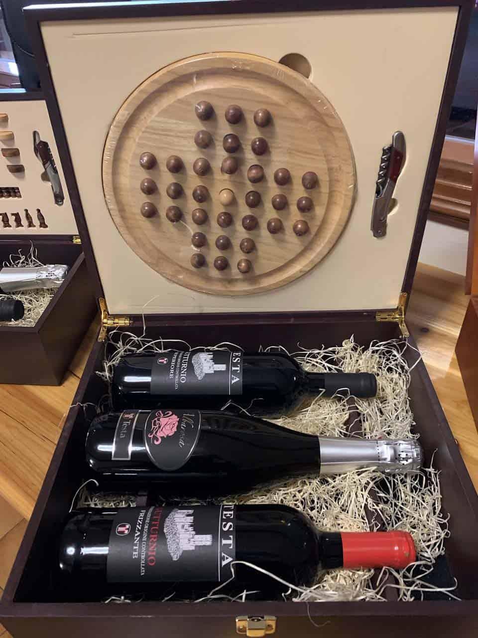 confezioni regalo cassetta 3 bottiglie e solitario
