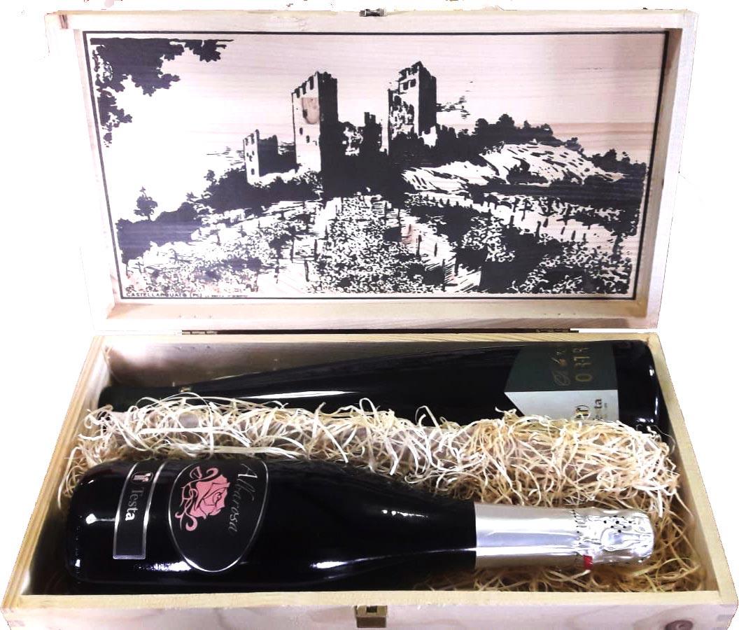 Vini Testa cassetta legno 2 bottiglie